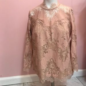 HEARTLOOM BY ANTHROPOLOGIE PINK LACE TOP